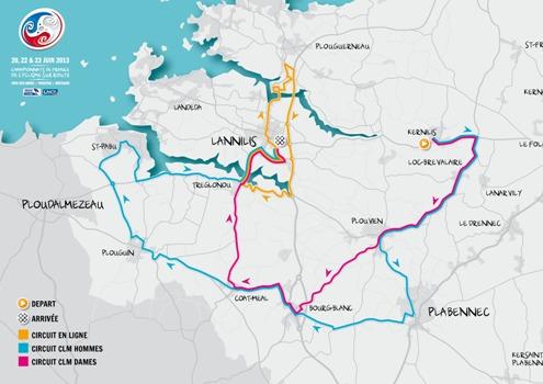 Carte abers lannilis championnat de france vélo